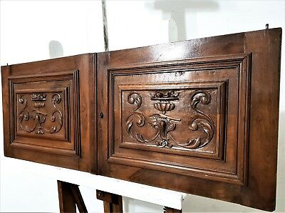 Pair Scroll Leaves Cabinet Door Antique French Carved Wood Salvaged Furniture