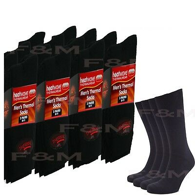 Ultimate 12 Pairs Mens Thermal Socks Thick Warm Work Boot Black Socks Size 6-11