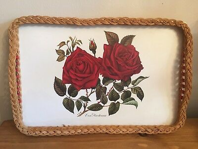 Large Retro Tray With Kitsch Floral Ena Harkness Design & Beaded Wicker Bumper