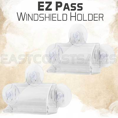 2 For EZ-Pass Car Windhsield Holder Toll Tag Case Mini Version Suction Cup Clear