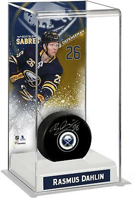 Rasmus Dahlin Buffalo Sabres Autographed Puck with Deluxe Tall Hockey Puck Case