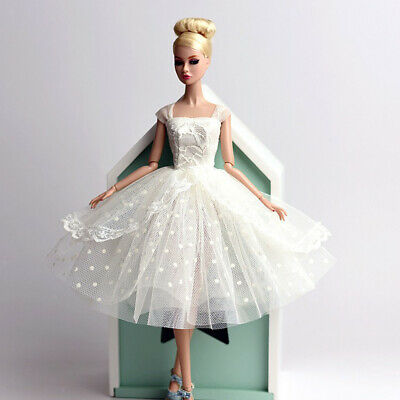 Elegant Party Dress Puff Skirt White Wedding Dress For 12inch Fashion Doll