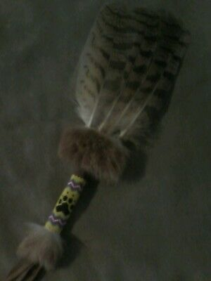 native american style natural eagle owl feather smudge fan with beaded  handle