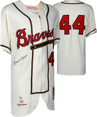 Hank Aaron Milwaukee Braves Signed Mitchell and Ness 1963 Authentic Jersey bb09b3b9a