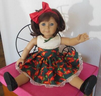 """18"""" doll clothes handmade by Judy fit American Girl type dolls Dress & Hairband"""