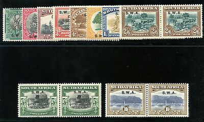 South West Africa 1927 KGV set complete (10/- MNH) MLH. SG 58-67. Sc 96-105.