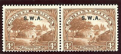 South West Africa 1928 KGV 4d brown (p14) bilingual pair MLH. SG 62. Sc 101.