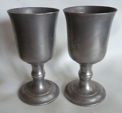 Pair Antique American Pewter Footed Cups Goblets Chalices by the Boardmans