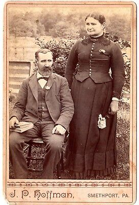 "Vintage/Antique Cabinet Photo - Man & Woman, posed outside 6""h x 4""w     [12-10"