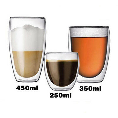 Explosion proof Glass Coffee Mug Clear Double Wall Insulated Thermal Tea Cup r