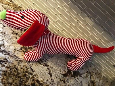 Ganz Christmas Candy Cane Digger 25 Inch Dachshund Plush Puppy Dog Stripped