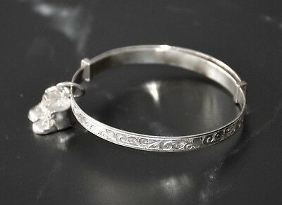 Charming Baby 925 Solid Sterling Silver Adjustable Bangle & Charm