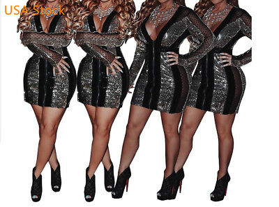 USA Women Glitter Sequin Lace Patchwork Long Sleeve Sexy V Neck Slim Party Dress