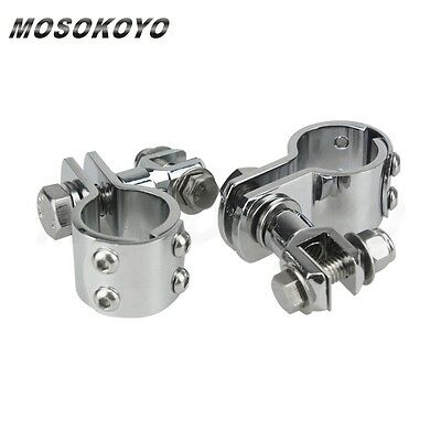 """Motorcycle Highway Foot Peg Mount Clamp Chrome Fit 1 1/8"""" Engine Guard Crash Bar"""