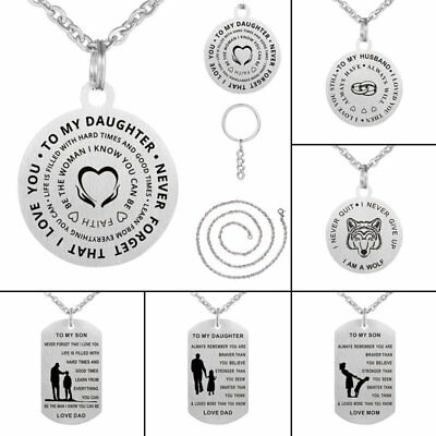 To My Son Daughter Gift Father Mother Dog Tag Necklace Keychain Stainless Steel