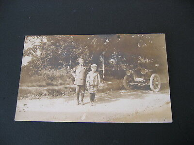 Antique Postcard Real Photo  Young Boys  and Automibile