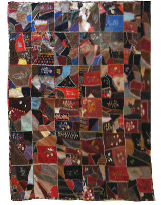 "Antique Embroidered Patchwork Quilt, Folk Art Quality Embroidery 60""x60"" Rustic"
