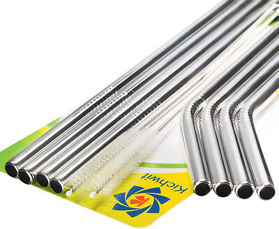 Kichwit Extra Long Stainless Steel Straws Set of 8,10.5? Long, 5/16 Wide New