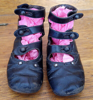 Antique Vintage Victorian Black Leather Baby Button 3 Strap Up Mary Jane Shoes