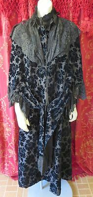 RARE 1800s Antique Victorian Jacket Black Passion Flower Velvet & Lace Coat