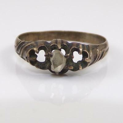Early Antique VERY OLD Gold/Silver Alloy Rose Cut Diamond Ring QXL9