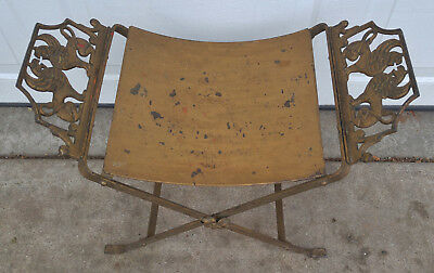 Antique Gold Cast Wrought Iron Dragon Griffin Bench Seat Chair