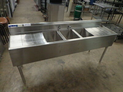 """Universal 72"""" 3 Compartment Commercial Stainless Steel Sink w/ 2 Drainboards NSF"""