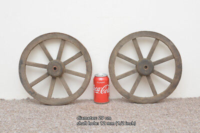 2x vintage old wooden cart wagon wheels wheel - 29 cm - FREE DELIVERY