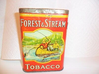 """Vintage Forest and Stream Pocket Tobacco TIN 2 FISHERMAN IN CANOE CANADA 3/4.5"""""""