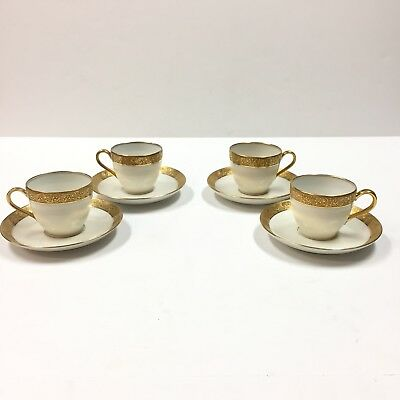 Set of 4 Antique Limoges France Haviland Demitasse Cup & Saucer Gold Trim