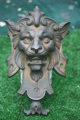SUPERB 19thC GOTHIC BRONZE LION HEAD MOUNT WITH INTRICATE DETAIL c1880s