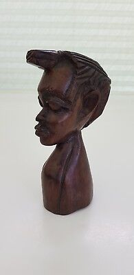 "Carved Wooden Head African Tribal Figure Dark Solid Hardwood Collectable 6"" Tall"
