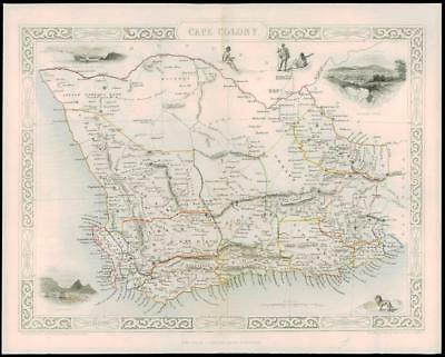 """1850 - Original Illustrated Antique Map of """"CAPE COLONY"""" Africa by Tallis (64d)"""