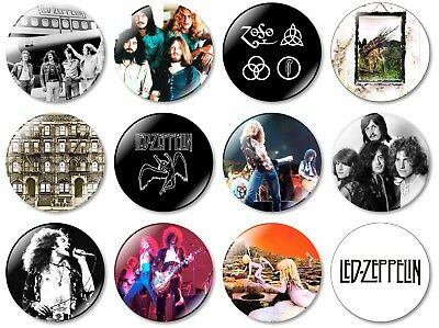 12 x Led Zeppelin 32mm BUTTON PIN BADGES Heavy Metal Rock Plant Page Black Dog