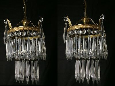 Very Pretty PAIR of Antique French Single Light Crystal Chandeliers Pendants