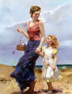 Pino Daeni,Hand-painted Portrait oil Painting On Canvas 24x32#107/Unframed