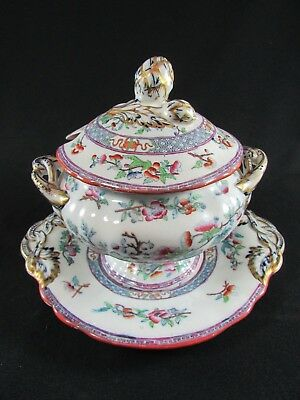Minton's Hand Painted Sauce Toureen on Stand Indian Tree Pattern c.1856