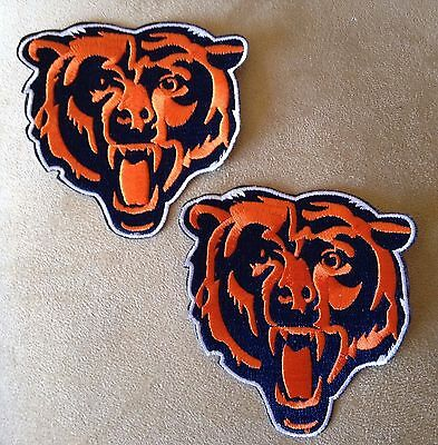 """🏈2-CHICAGO BEARS 3-1/2"""" Team Logo Iron-on NFL Football Jersey/Hat/Shirt PATCHES"""
