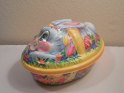 """Vintage Large Plastic Bunny Rabbit On Easter Basket Candy Container 9"""" Long USA"""