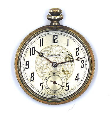 Antique Art Deco Tacy Co Admiral Open Face Pocket Watch 6 Jewels Gold Filled