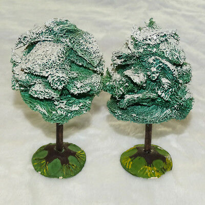 C1920s Antique German Mica Covered Sisal Christmas Tree Lot of 2 Signed Germany