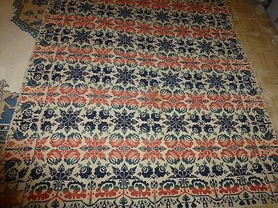 """Rare Very Early Double Loom Coverlet Red,beige,blue Dated """"1853 Mt Vernon Ohio"""""""