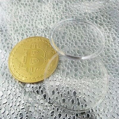 Gold Plated w Case US Seller 1 PC Bitcoin Commemorative Round Collectors Coin