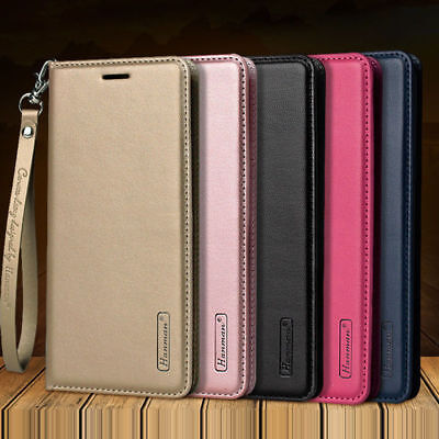 For iPhone Xs Max XR 7 8+ Magnetic Flip Genuine Leather Wallet Stand Case Cover