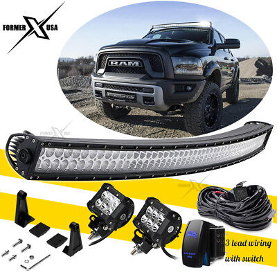 52inch 700W Curved LED Light Bar Flood Spot Roof Driving Offroad SUV +Wiring Kit