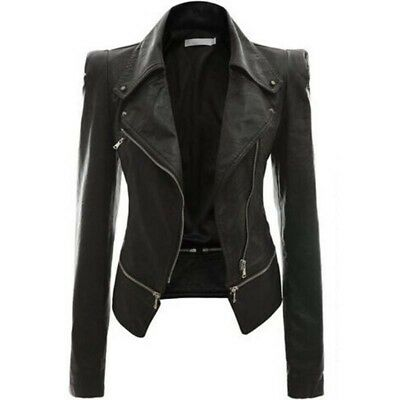Women Leather Jacket Black Sexy Motorcycle Punk Coat Short Slim Outwear Clothing