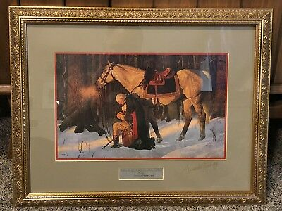 """Arnold Friberg """"Prayer At Valley Forge"""" Framed Print - Signed On Glass In 2005"""