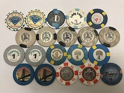 Las Vegas Casino Chip Lot 20 $1 Obsolete Downtown Casinos
