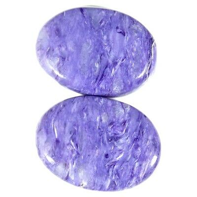 21.90Cts 100% Natural Designer Blue Purple Charoite Oval Russian Pair Gemstone