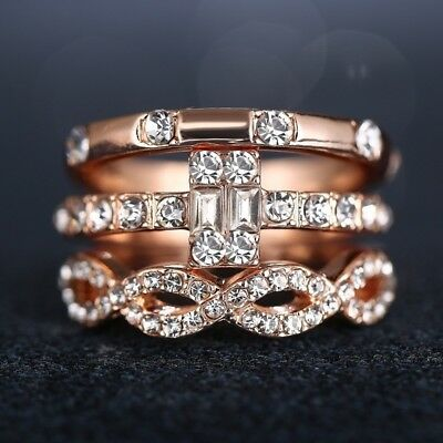 3Pcs/lot 18K Geometry Intersect Crystal Rings Set For Women Girls Jewelry Gifts